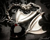 Bat Wing Necklace with Black Heart // Gothic Necklace // Bat Necklace // Black Heart Necklace // Wings Necklace // Gothic Gift