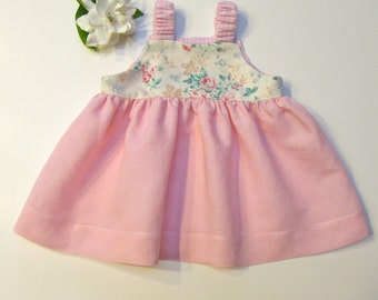 0 to 6mo. Baby Girl Pink Jumper Dress