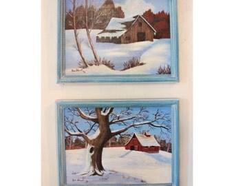 vintage winter barn landscape paintings