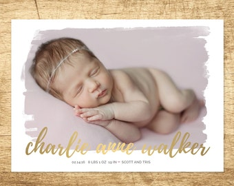 modern gold birth announcement, watercolor baby announcement, baby girl announcement, newborn printable, modern digital baby announcement