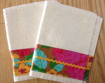 Towels- set of two Cotton Terry Fingertip Hand Towels - Multi Floral- Ready to Ship