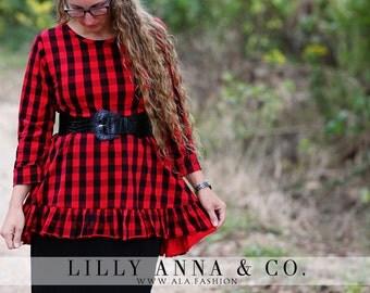 LillyAnnaKids Ladies Ruthie Buffalo Plaid peplum top shirt LALA