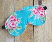 Sleep Mask - Eye Mask - Turquoise Floral -  Reversible Sleep Mask