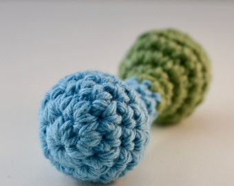 Blue and Green Baby Rattle, Teething Ring