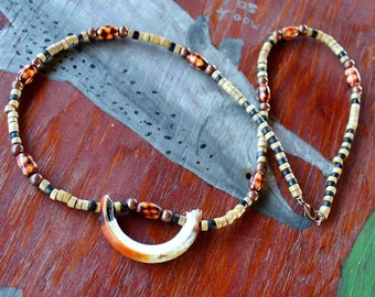 Muskrat tooth necklace - real muskrat tooth on bone, copper and wood beaded necklace totem skull bone
