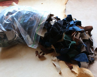HUGE lot of secondhand pigskin suede scrap leather, light garment weight for crafts sewing trim more DESTASH