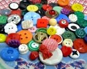 Mixed Lot Retro Bright Colored Buttons-1940s-50s-Delightful 60