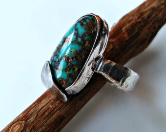 Kingman Turquoise Leaf Ring, Sterling Silver Ring, Gypsy, Southwestern Ring, Bohemian, Blue Green Turquoise, Nature Ring, Zen Ring Size 7.5