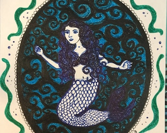 Mermaid in dark water original illustration