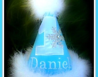 Snowflake WINTER ONEderland  First Birthday Hat, You Choose Colors,by Gingham Bunny