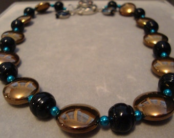 "18"" Jacksonville Jaguar Black/Gold/Teal Glass Bead Necklace with Silver-Plated Clasp and NFL Charms"