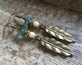 ANCIENT FEATHERS turquoise opal rustic brass vintage inspired wirework