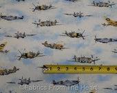 Vintage Propeller Airplanes Transportation BY YARDS Robert Kaufmam Cotton Fabric