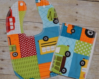 Drooler Bib and Burp Cloth Set Ready to ship - Trucks and Equipment