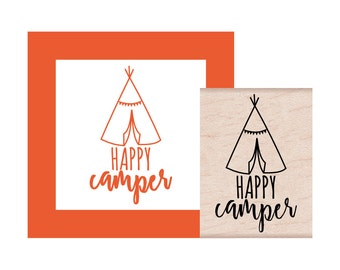 NEW for 2017 Happy Camper Tent Rubber Stamp