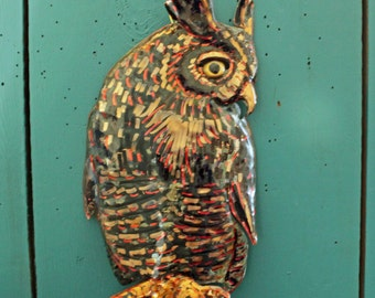 Great Horned Owl - copper metal raptor bird sculpture - wall hanging - with verdigris blue-green patina - OOAK