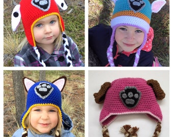 Paw Patrol Hat - Custom Made - Baby Toddler Child Adult Halloween Costume Marshall Chase Sky Rubble Everest Zuma