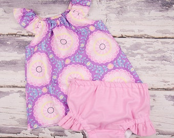 Baby Girl Clothes, Toddler Girl Clothes, Baby Girl Coming Home Outfit,  Baby Shower,  Flutter Top and Diaper Cover in Lilac Daydream