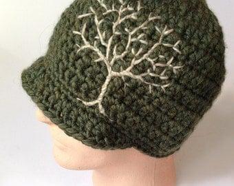 Mens Wool Hat Womens Hat Brimmed Beanie with Embroidered Tree Dark Green Hat Winter Hat Tree of Life - MADE TO ORDER