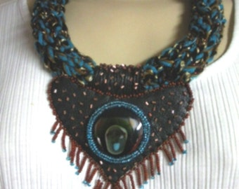 FREE SHIP Night Winds Black blue and copper Leather, knitted and beaded necklace with fused glass cabochon airpiece  - BearlyArtDesigns