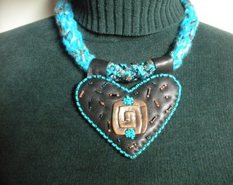 FREE SHIP After Hours Heart Lambskin black leather necklace with copper concho, turquoise beadwork  - BearlyArtDesigns