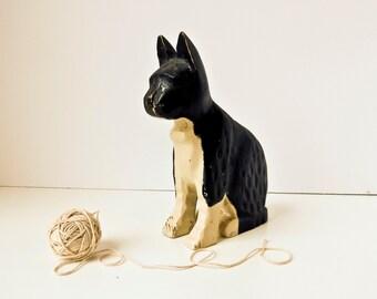 Hand Carved Wood Cat, Outsider Art, Black Cat