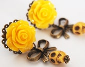 Dangle Earrings Yellow Day of the Dead Skull Dangle Stud Earrings Dark Mourning Pastel Goth Chic