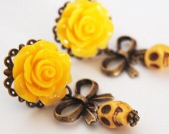 Dangle Earrings Yellow Day of the Dead Skull Dangle Stud Earrings Dark Mourning Pastel Goth Chic