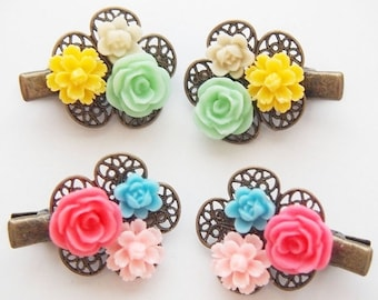ON SALE Mini Floral Cluster Hair Clips -  Cute Fun Bright Sweet Blue Pink Yellow Green