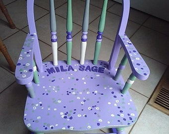 Olivia grace Nolan Collection Hand Painted Personalized Rocking Chair