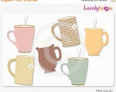 SALE Coffee mug clip art, tea, hot chocolate drinks, digital PNG clipart set (109)