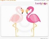 SALE Pink flamingo clipart, a pair of pink birds digital PNG clip art (095)