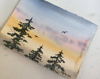 Misty Sunset an Original Watercolor Painting 5x7 inch