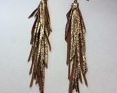Metallic Gold Leather Long Tassle Fringe Earrings