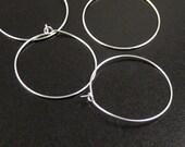 Earring Findings 50 Earring Hook Hoop Wire Shiny Silver Brass (25 pairs) 30mm across Wine Charm (1059ear30s1)
