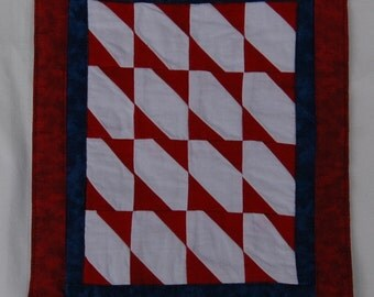 Red White and Blue Color in the Corner Mini Quilt Mug Rug Art Quilt