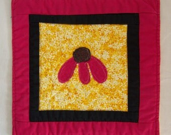 Bright Pink Coneflower Coaster Mug Rug or Mini Quilt