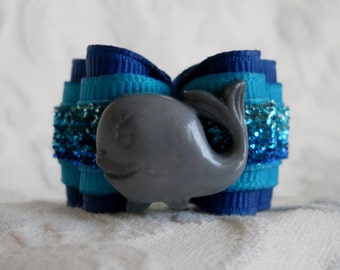 "7/8"" Happy Whale Dog Bow"