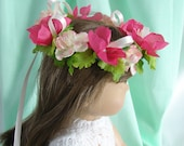 Flower Crown for American Girl Doll 18 Inch Doll Flower Crown Pink White Ivory Flower Crown Doll Summer Accessory Am Girl Doll Flower Crown
