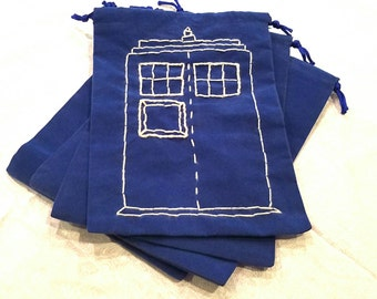 Doctor Who Tardis Blue Velvet Hand Stitched Gift Pouch set of 4