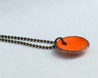 Copper Penny Necklace Orange Enameled penny on antiqued copper necklace chain