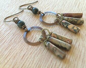 E486 Picture Jasper Dangle Earrings