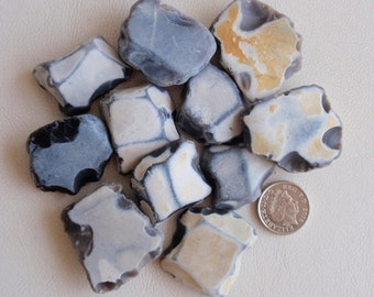 Unusual and rare English flat back flint beach find treasures for jewellery or crafts