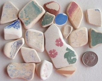 Victorian  English sea glass beach pottery  pieces   for jewellery or crafts