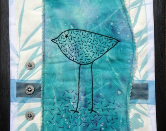 Blue Bird Fiber Art Collage