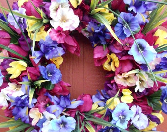 Spring Wreath..Tulip Wreath..Door Wreath..