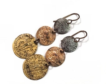 Painted Brass Faux Coin earrings (224)