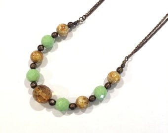 SALE Light Yellow Green and Tan Glass Bead statement Necklace
