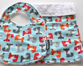 Chenille Bib and Burp Cloth Set - Foxes in Blue - Over 160 fabrics to choose from in my shop
