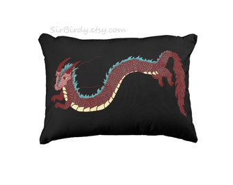 Dragon pillow made to order artwork toss pillow teen artist fantasy decor custom home decor dragon decor dragon toss pillows asian inspired